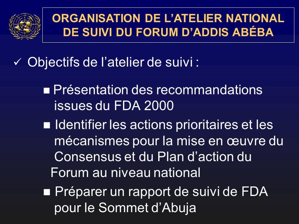 ORGANISATION DE LATELIER NATIONAL DE SUIVI DU FORUM DADDIS ABÉBA Objectifs de latelier de suivi : Présentation des recommandations issues du FDA 2000