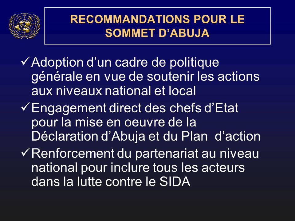 RECOMMANDATIONS POUR LE SOMMET DABUJA Adoption dun cadre de politique générale en vue de soutenir les actions aux niveaux national et local Engagement