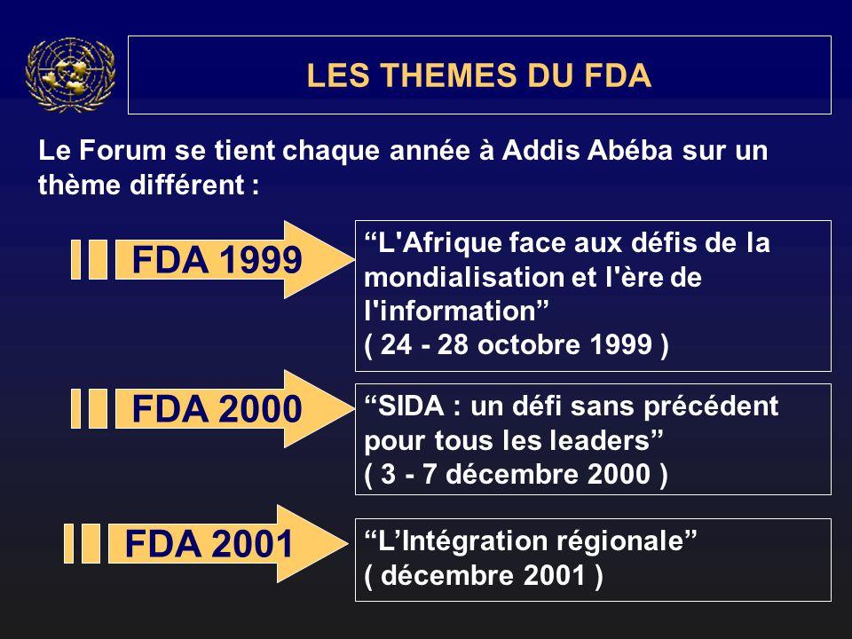 Le Forum se tient chaque année à Addis Abéba sur un thème différent : LES THEMES DU FDA FDA 1999 FDA 2000 FDA 2001 L Afrique face aux défis de la mondialisation et l ère de l information ( 24 - 28 octobre 1999 ) SIDA : un défi sans précédent pour tous les leaders ( 3 - 7 décembre 2000 ) LIntégration régionale ( décembre 2001 )
