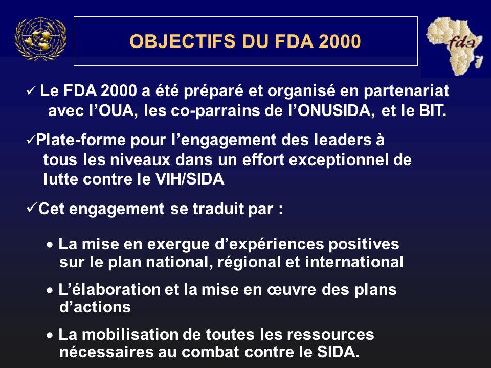 Le FDA 2000 a été préparé et organisé en partenariat avec lOUA, les co-parrains de lONUSIDA, et le BIT. Plate-forme pour lengagement des leaders à tou