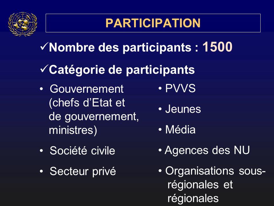 PARTICIPATION Nombre des participants : 1500 Catégorie de participants Gouvernement (chefs dEtat et de gouvernement, ministres) Société civile Secteur privé PVVS Jeunes Média Agences des NU Organisations sous- régionales et régionales