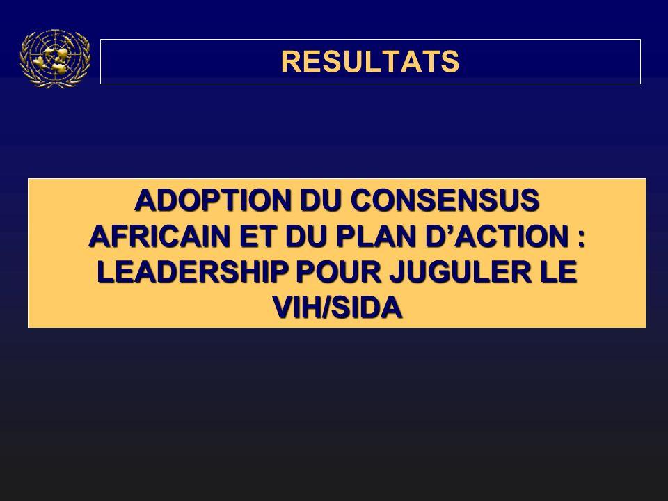 RESULTATS ADOPTION DU CONSENSUS AFRICAIN ET DU PLAN DACTION : LEADERSHIP POUR JUGULER LE VIH/SIDA