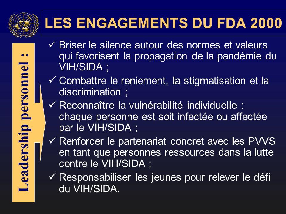 LES ENGAGEMENTS DU FDA 2000 Briser le silence autour des normes et valeurs qui favorisent la propagation de la pandémie du VIH/SIDA ; Combattre le ren