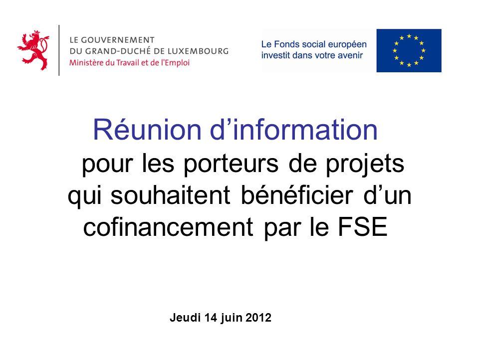 Réunion dinformation pour les porteurs de projets qui souhaitent bénéficier dun cofinancement par le FSE Jeudi 14 juin 2012