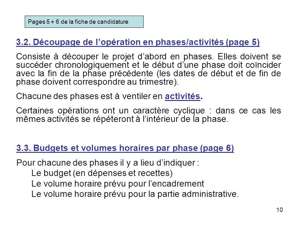 10 3.2. Découpage de lopération en phases/activités (page 5) Consiste à découper le projet dabord en phases. Elles doivent se succéder chronologiqueme