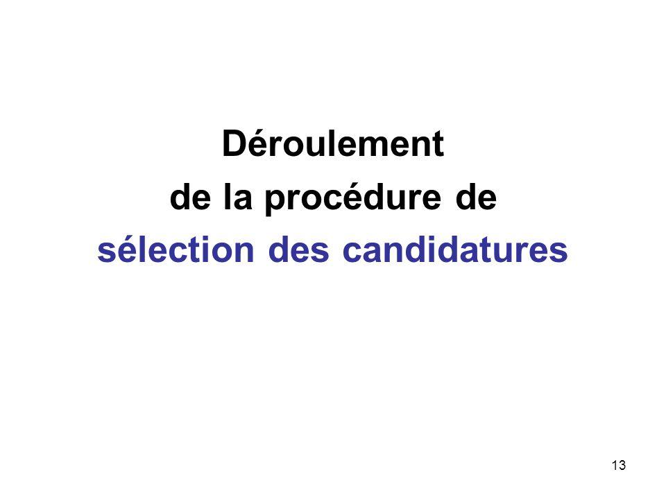 13 Déroulement de la procédure de sélection des candidatures