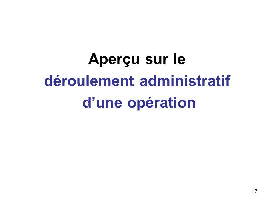 17 Aperçu sur le déroulement administratif dune opération