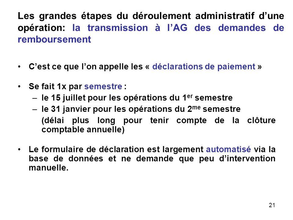 21 Les grandes étapes du déroulement administratif dune opération: la transmission à lAG des demandes de remboursement Cest ce que lon appelle les « d