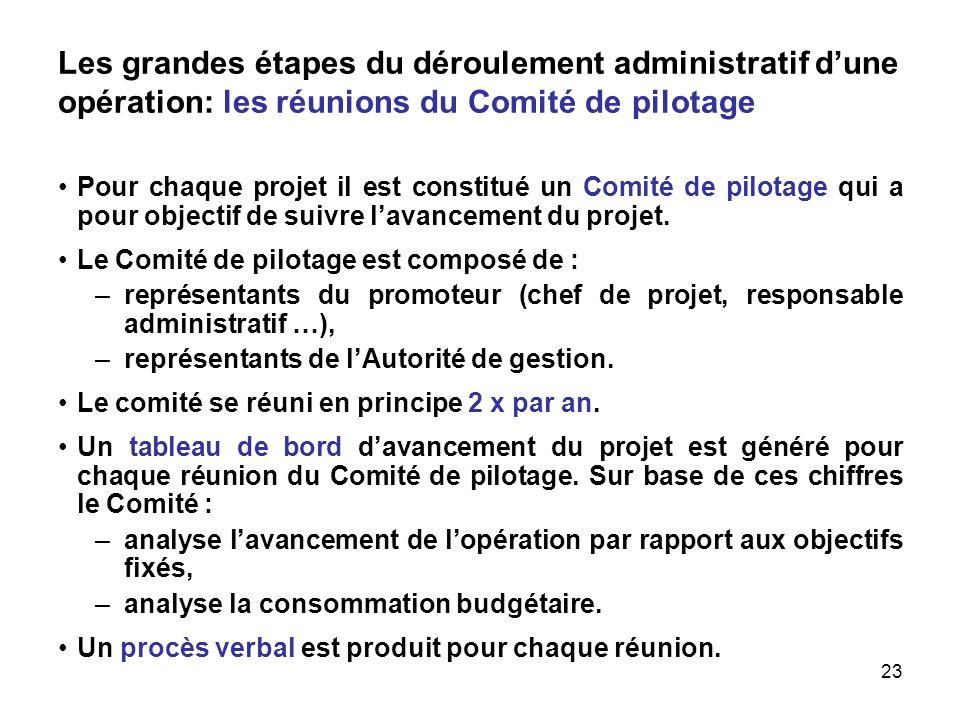 23 Les grandes étapes du déroulement administratif dune opération: les réunions du Comité de pilotage Pour chaque projet il est constitué un Comité de