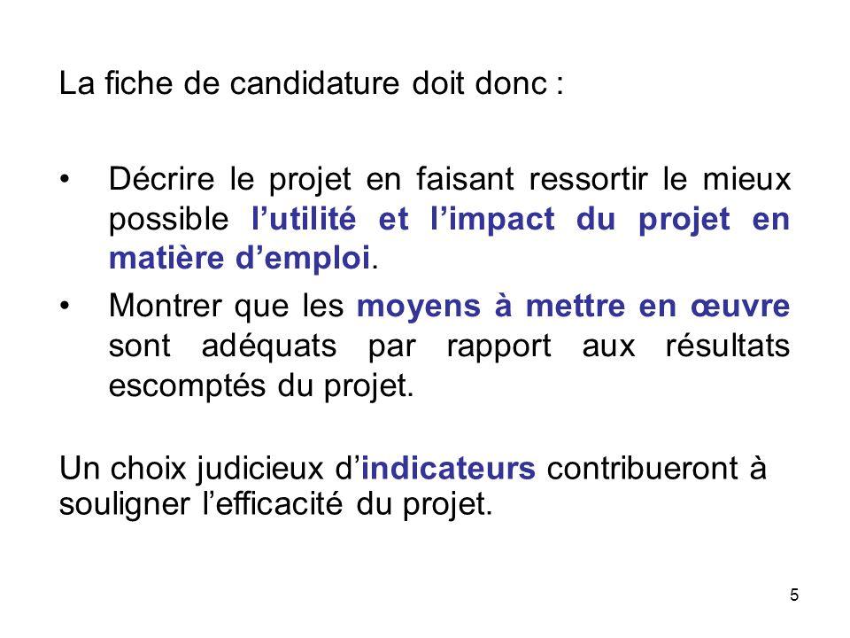 5 La fiche de candidature doit donc : Décrire le projet en faisant ressortir le mieux possible lutilité et limpact du projet en matière demploi. Montr