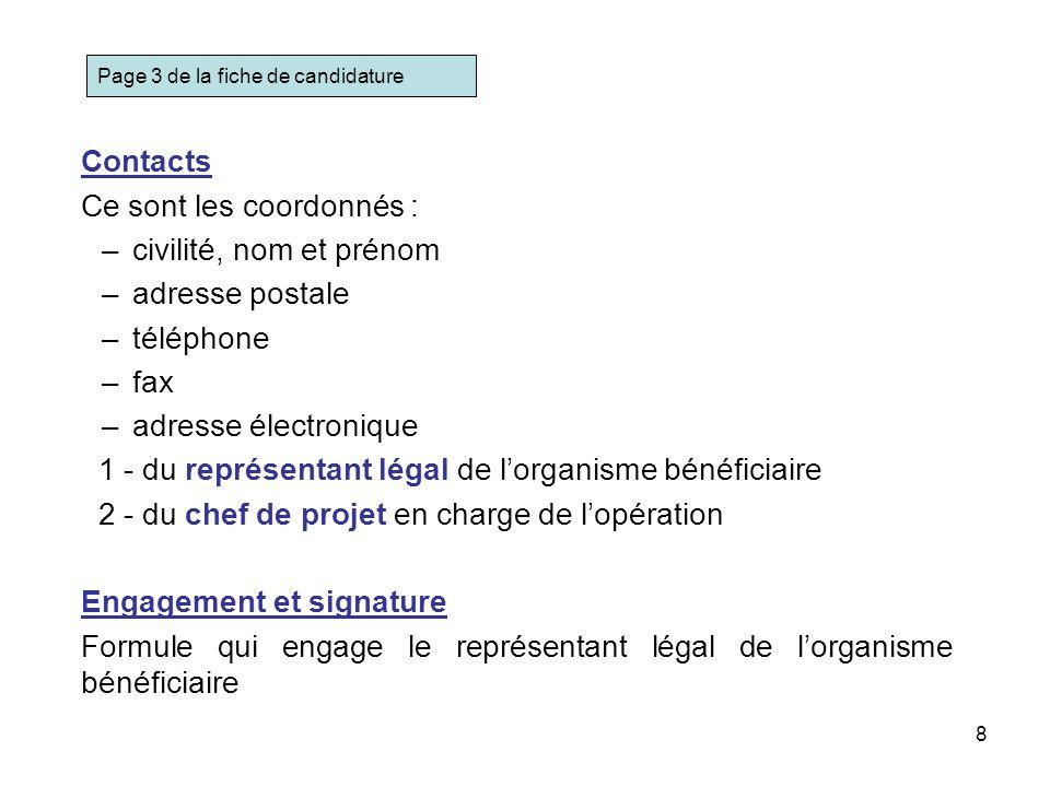 8 Contacts Ce sont les coordonnés : –civilité, nom et prénom –adresse postale –téléphone –fax –adresse électronique 1 - du représentant légal de lorga