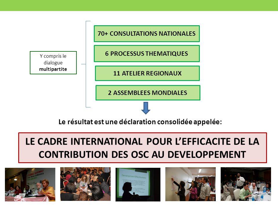 70+ CONSULTATIONS NATIONALES 6 PROCESSUS THEMATIQUES 11 ATELIER REGIONAUX 2 ASSEMBLEES MONDIALES LE CADRE INTERNATIONAL POUR LEFFICACITE DE LA CONTRIBUTION DES OSC AU DEVELOPPEMENT Le résultat est une déclaration consolidée appelée: Y compris le dialogue multipartite