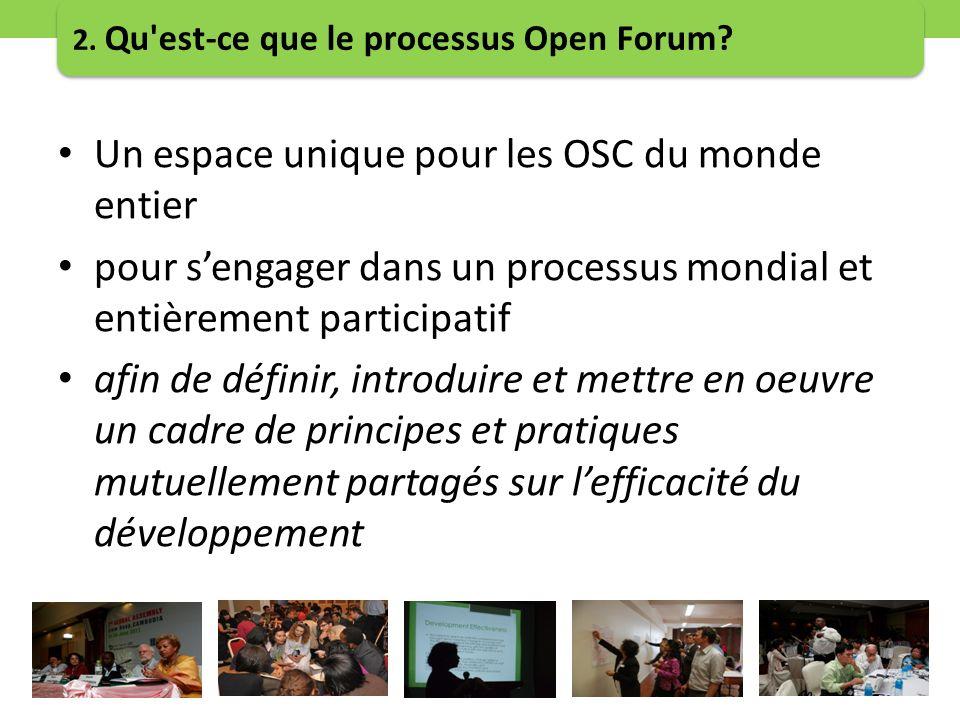Un espace unique pour les OSC du monde entier pour sengager dans un processus mondial et entièrement participatif afin de définir, introduire et mettre en oeuvre un cadre de principes et pratiques mutuellement partagés sur lefficacité du développement 2.