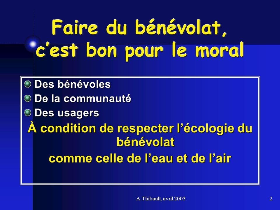 A.Thibault, avril 20052 Faire du bénévolat, cest bon pour le moral Des bénévoles De la communauté Des usagers À condition de respecter lécologie du bé