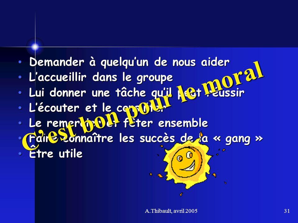 A.Thibault, avril 200531 Demander à quelquun de nous aider Demander à quelquun de nous aider Laccueillir dans le groupe Laccueillir dans le groupe Lui