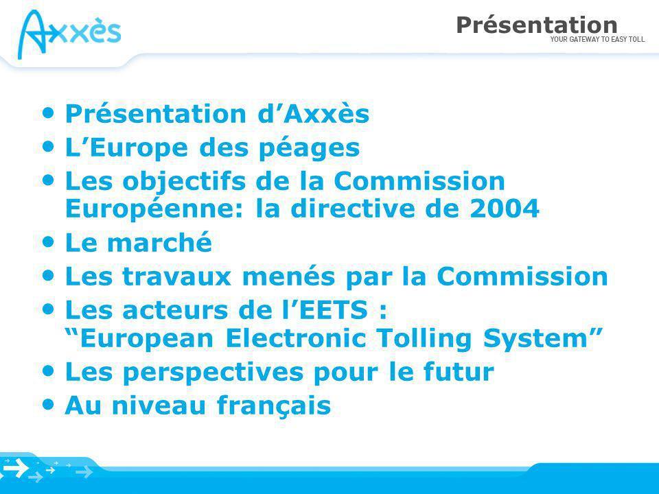 Présentation Présentation dAxxès LEurope des péages Les objectifs de la Commission Européenne: la directive de 2004 Le marché Les travaux menés par la