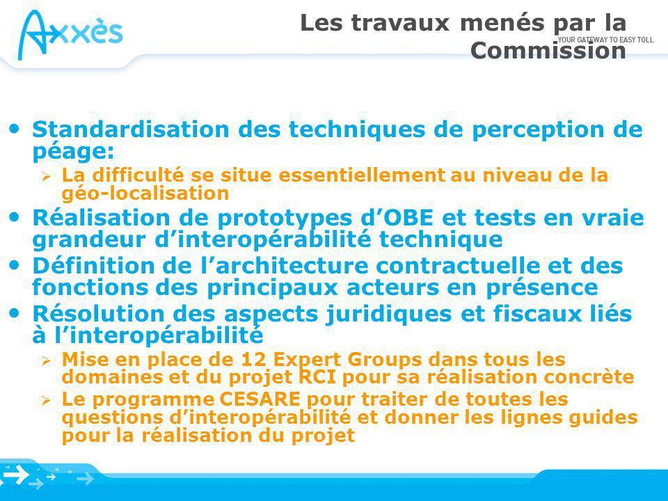 Les travaux menés par la Commission Standardisation des techniques de perception de péage: La difficulté se situe essentiellement au niveau de la géo-