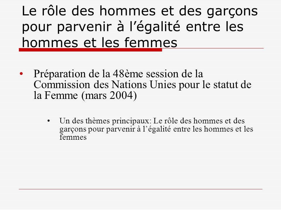 Le rôle des hommes et des garçons pour parvenir à légalité entre les hommes et les femmes Préparation de la 48ème session de la Commission des Nations Unies pour le statut de la Femme (mars 2004) Un des thèmes principaux: Le rôle des hommes et des garçons pour parvenir à légalité entre les hommes et les femmes