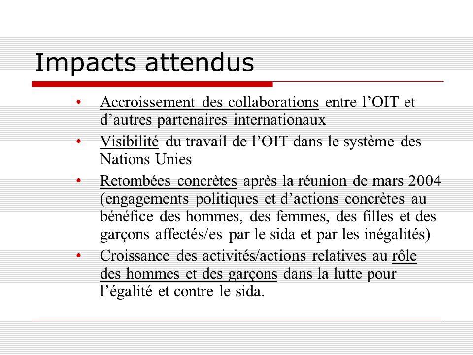 Impacts attendus Accroissement des collaborations entre lOIT et dautres partenaires internationaux Visibilité du travail de lOIT dans le système des Nations Unies Retombées concrètes après la réunion de mars 2004 (engagements politiques et dactions concrètes au bénéfice des hommes, des femmes, des filles et des garçons affectés/es par le sida et par les inégalités) Croissance des activités/actions relatives au rôle des hommes et des garçons dans la lutte pour légalité et contre le sida.