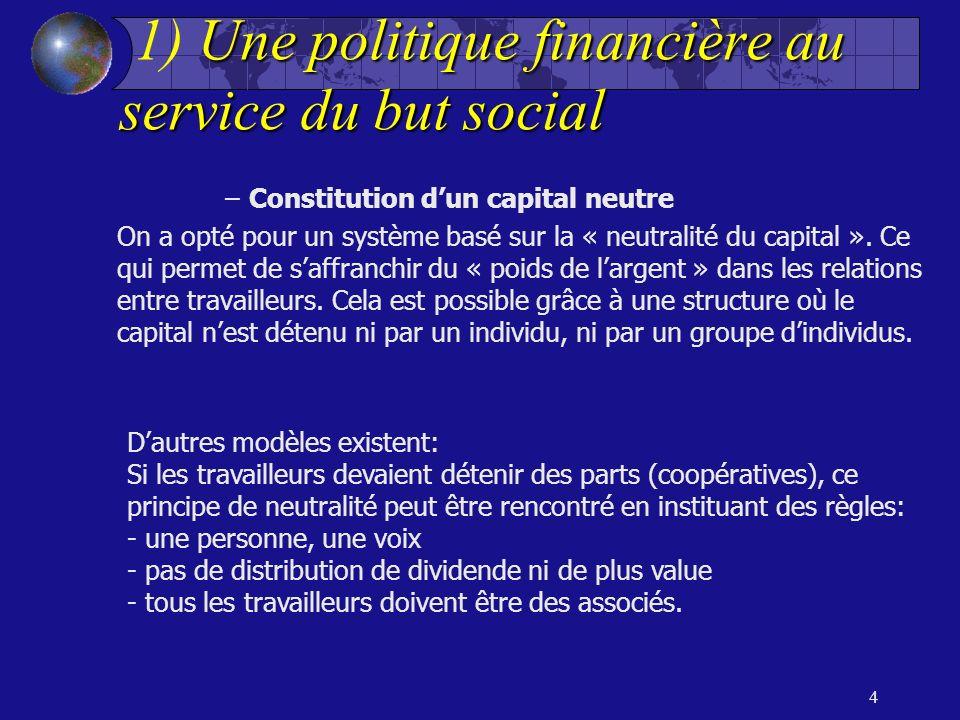 4 Unepolitiquefinancièreau servicedubutsocial 1) Une politique financière au service du but social –Constitution dun capital neutre On a opté pour un système basé sur la « neutralité du capital ».