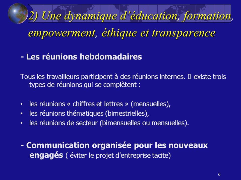 2) Unedynamiquedéducationformation empowermentéthiqueettransparence 2) Une dynamique déducation, formation, empowerment, éthique et transparence - Les réunions hebdomadaires Tous les travailleurs participent à des réunions internes.