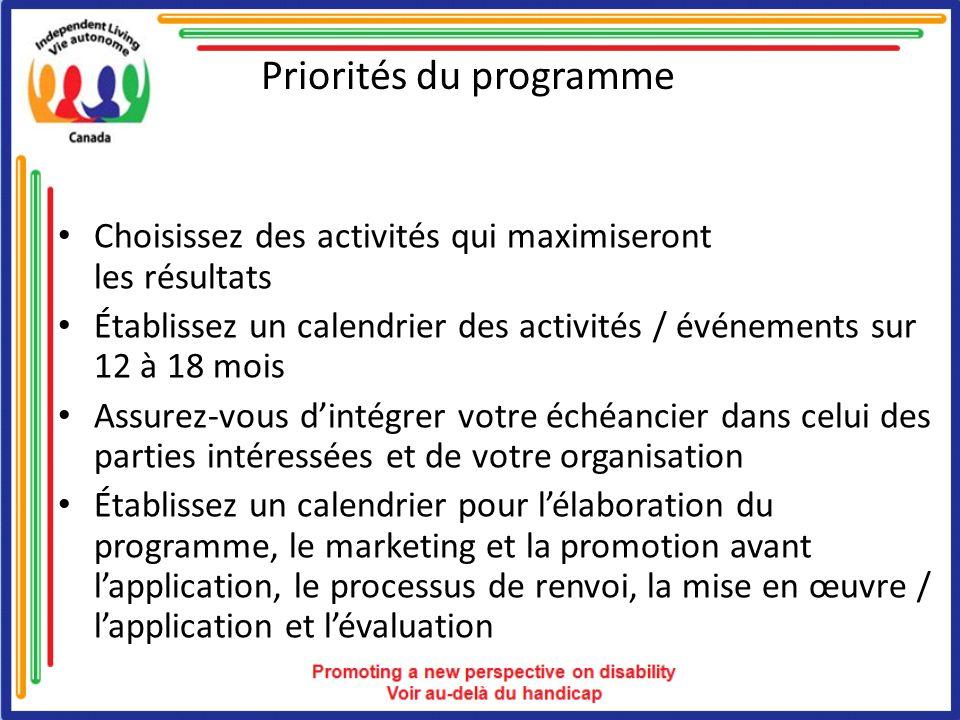 Priorités du programme Choisissez des activités qui maximiseront les résultats Établissez un calendrier des activités / événements sur 12 à 18 mois Assurez-vous dintégrer votre échéancier dans celui des parties intéressées et de votre organisation Établissez un calendrier pour lélaboration du programme, le marketing et la promotion avant lapplication, le processus de renvoi, la mise en œuvre / lapplication et lévaluation