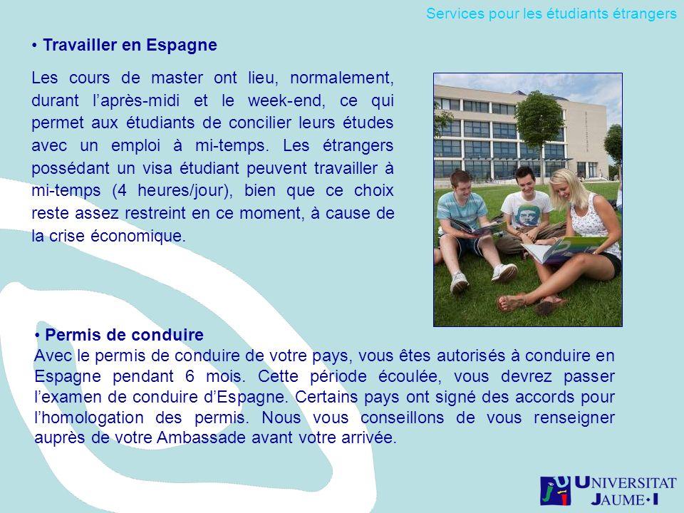 Travailler en Espagne Les cours de master ont lieu, normalement, durant laprès-midi et le week-end, ce qui permet aux étudiants de concilier leurs étu