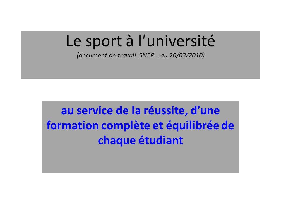 Le sport à luniversité (document de travail SNEP… au 20/03/2010) au service de la réussite, dune formation complète et équilibrée de chaque étudiant