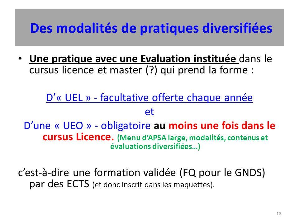 16 Des modalités de pratiques diversifiées Une pratique avec une Evaluation instituée dans le cursus licence et master ( ) qui prend la forme : D« UEL » - facultative offerte chaque année et Dune « UEO » - obligatoire au moins une fois dans le cursus Licence.