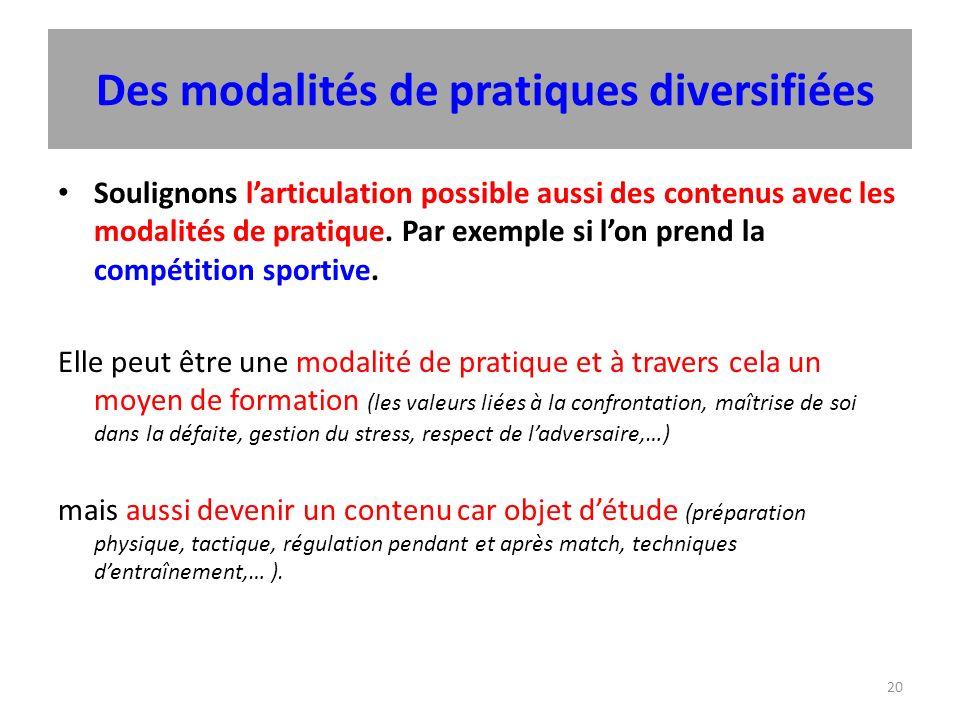 20 Des modalités de pratiques diversifiées Soulignons larticulation possible aussi des contenus avec les modalités de pratique.