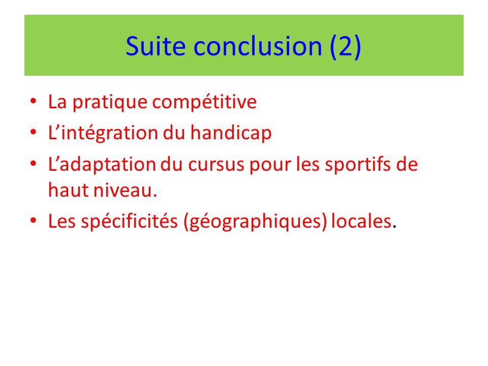 Suite conclusion (2) La pratique compétitive Lintégration du handicap Ladaptation du cursus pour les sportifs de haut niveau.