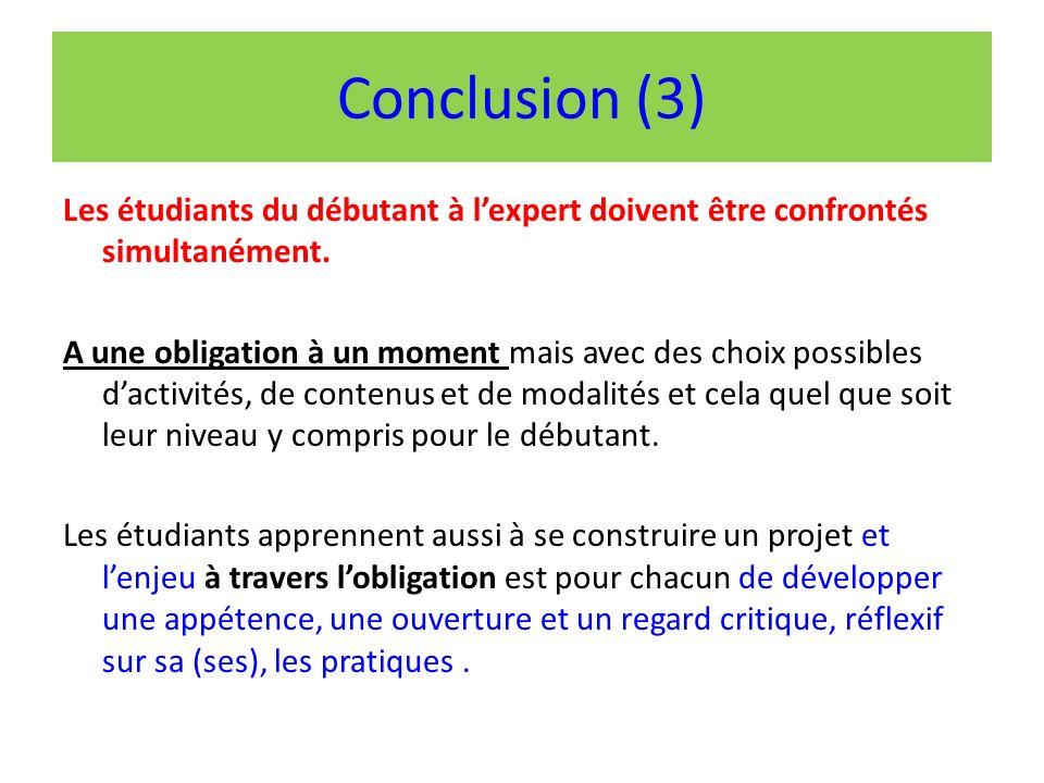 Conclusion (3) Les étudiants du débutant à lexpert doivent être confrontés simultanément.