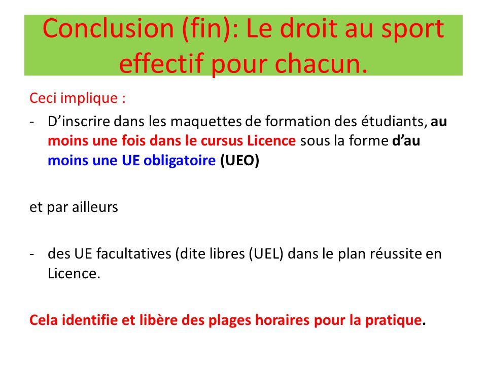 Conclusion (fin): Le droit au sport effectif pour chacun.