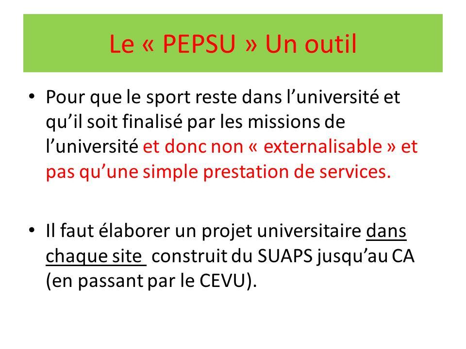 Le « PEPSU » Un outil Pour que le sport reste dans luniversité et quil soit finalisé par les missions de luniversité et donc non « externalisable » et pas quune simple prestation de services.