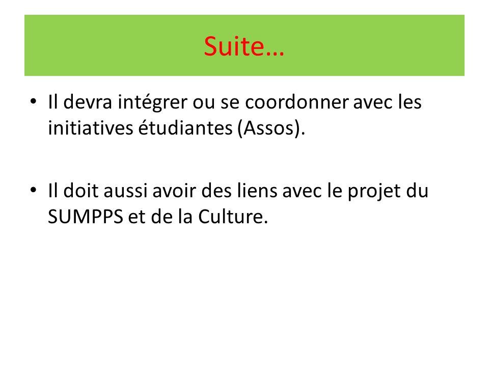 Suite… Il devra intégrer ou se coordonner avec les initiatives étudiantes (Assos).