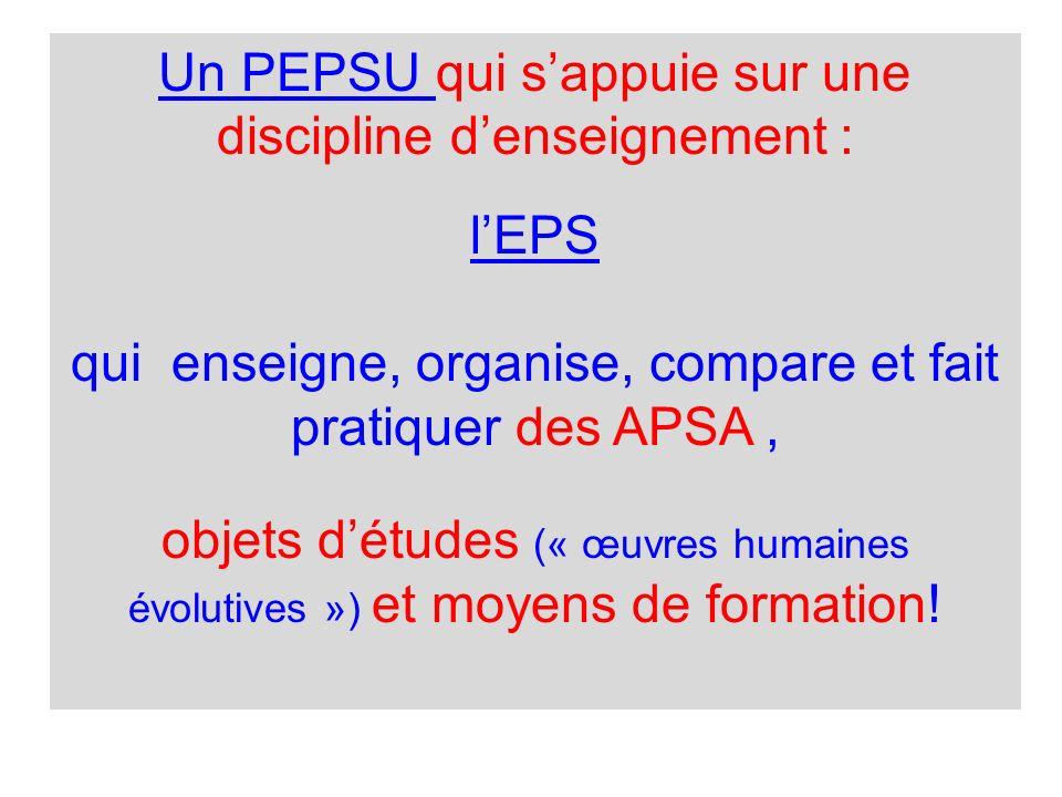 Un PEPSU qui sappuie sur une discipline denseignement : lEPS qui enseigne, organise, compare et fait pratiquer des APSA, objets détudes (« œuvres humaines évolutives ») et moyens de formation!