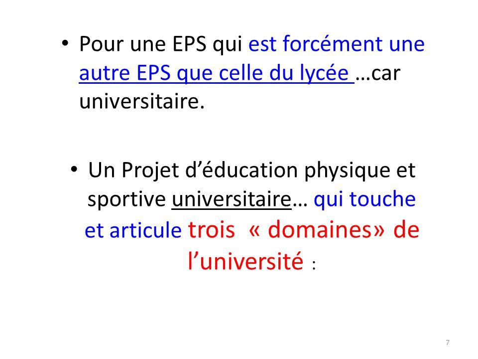 7 Pour une EPS qui est forcément une autre EPS que celle du lycée …car universitaire.