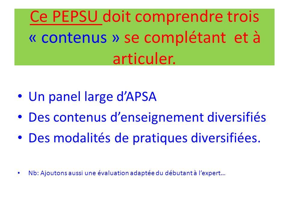 Ce PEPSU doit comprendre trois « contenus » se complétant et à articuler.