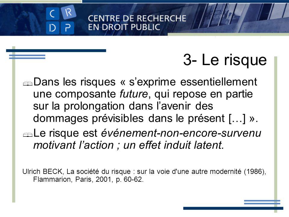 3- Le risque Dans les risques « sexprime essentiellement une composante future, qui repose en partie sur la prolongation dans lavenir des dommages prévisibles dans le présent […] ».
