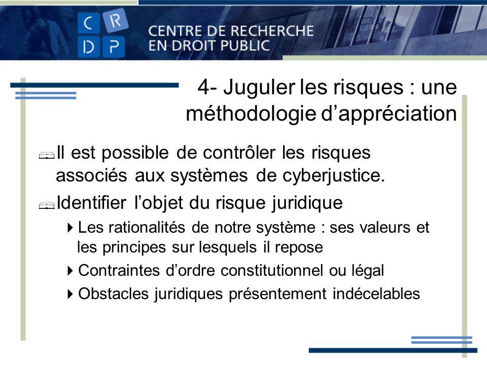4- Juguler les risques : une méthodologie dappréciation Il est possible de contrôler les risques associés aux systèmes de cyberjustice. Identifier lob