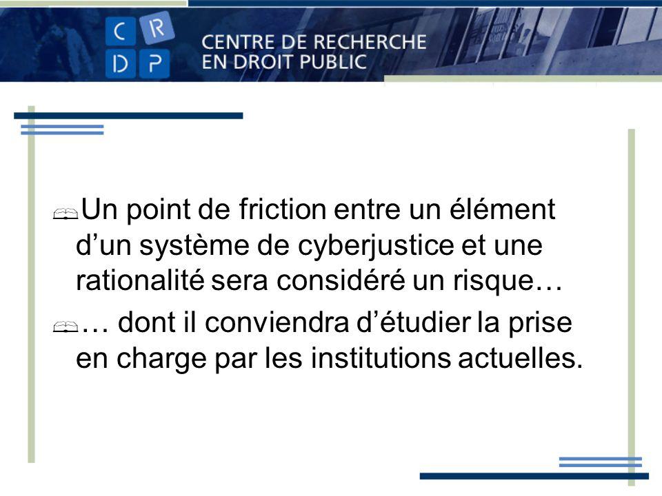 Un point de friction entre un élément dun système de cyberjustice et une rationalité sera considéré un risque… … dont il conviendra détudier la prise en charge par les institutions actuelles.