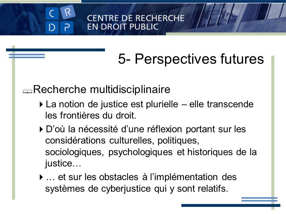 5- Perspectives futures Recherche multidisciplinaire La notion de justice est plurielle – elle transcende les frontières du droit. Doù la nécessité du