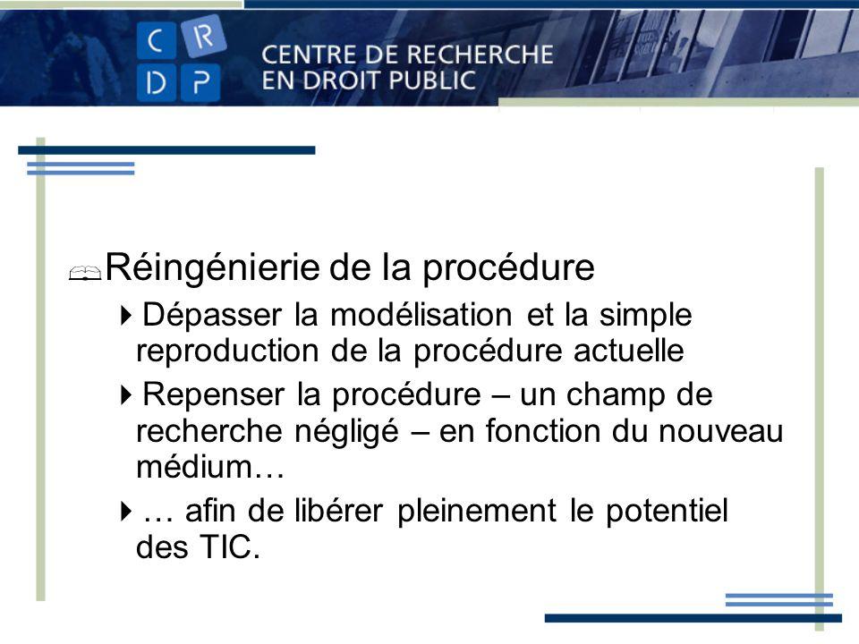 Réingénierie de la procédure Dépasser la modélisation et la simple reproduction de la procédure actuelle Repenser la procédure – un champ de recherche