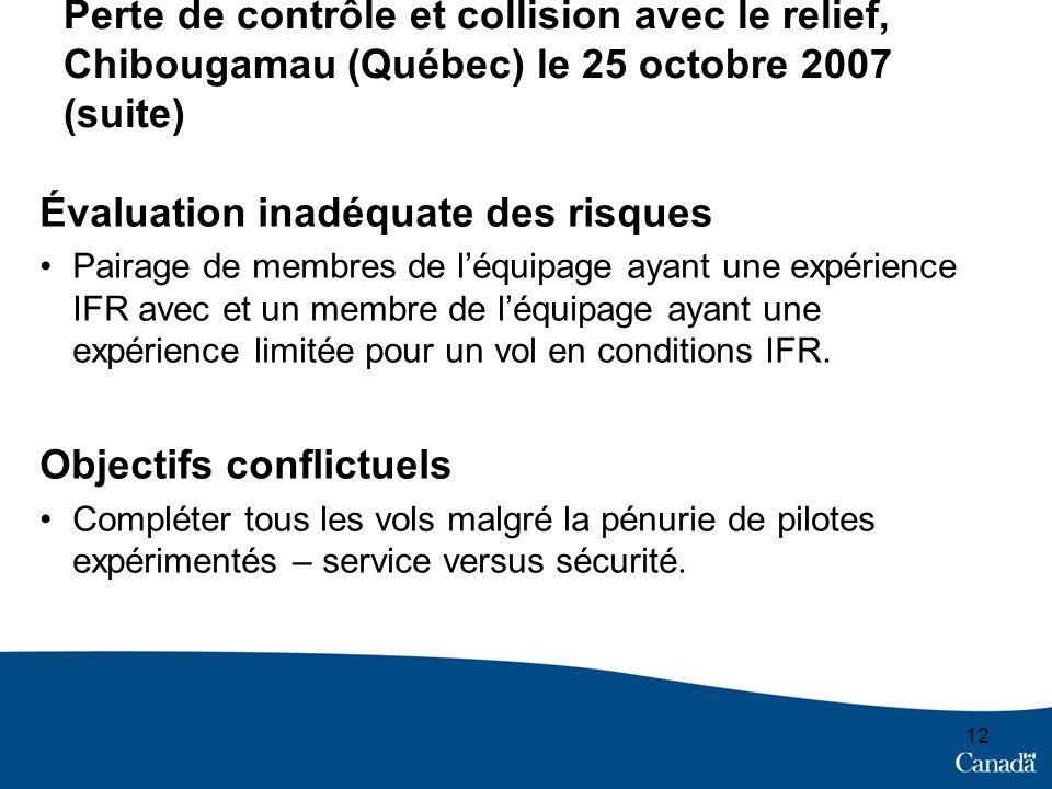 12 Perte de contrôle et collision avec le relief, Chibougamau (Québec) le 25 octobre 2007 (suite) Évaluation inadéquate des risques Pairage de membres de léquipage ayant une expérience IFR avec et un membre de léquipage ayant une expérience limitée pour un vol en conditions IFR.