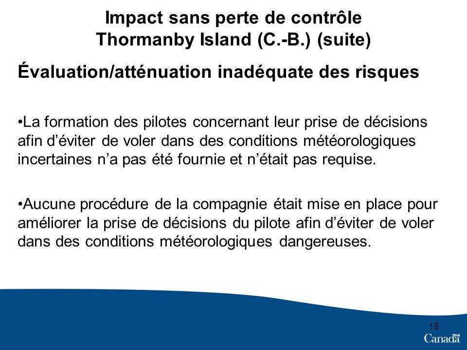 15 Impact sans perte de contrôle Thormanby Island (C.-B.) (suite) Évaluation/atténuation inadéquate des risques La formation des pilotes concernant le