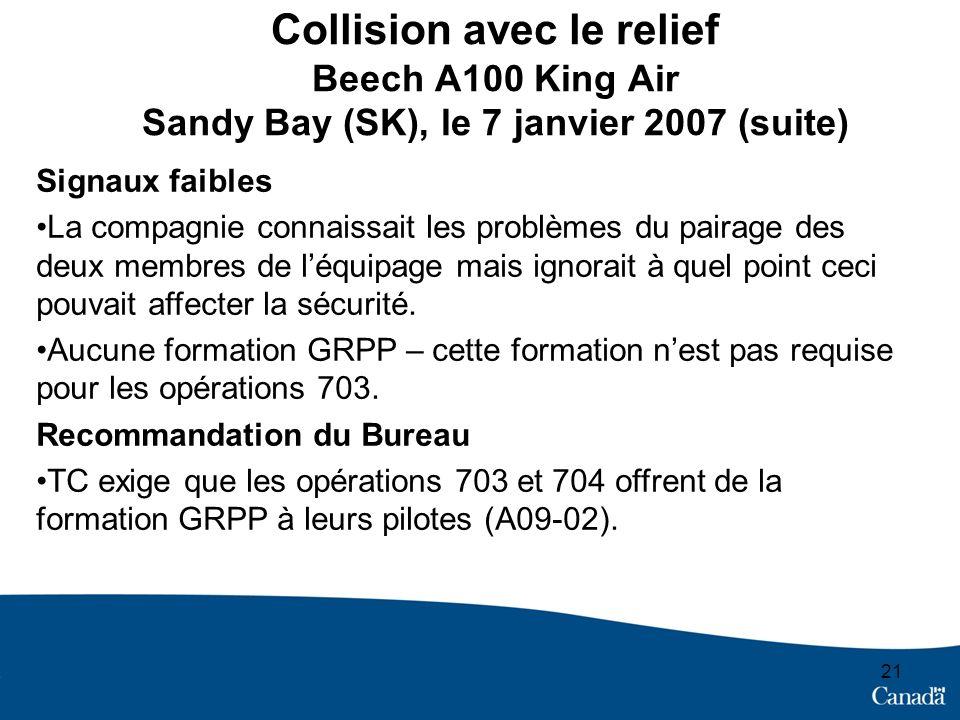 Collision avec le relief Beech A100 King Air Sandy Bay (SK), le 7 janvier 2007 (suite) 21 Signaux faibles La compagnie connaissait les problèmes du pairage des deux membres de léquipage mais ignorait à quel point ceci pouvait affecter la sécurité.