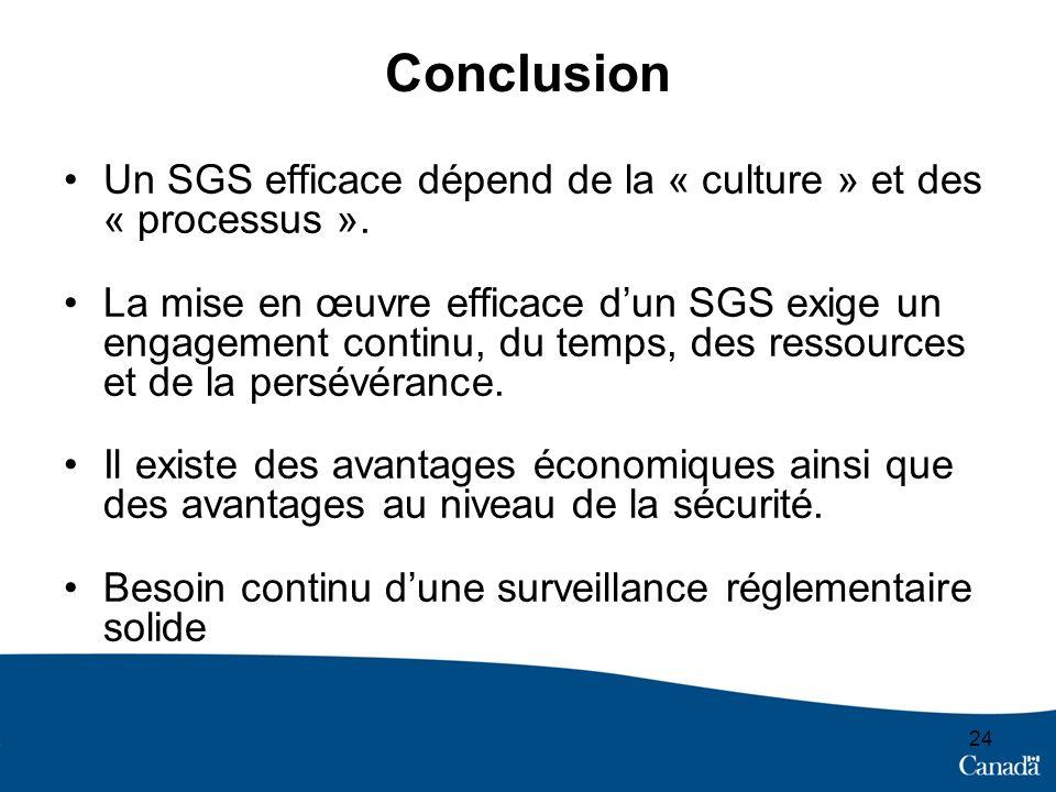 24 Conclusion Un SGS efficace dépend de la « culture » et des « processus ». La mise en œuvre efficace dun SGS exige un engagement continu, du temps,