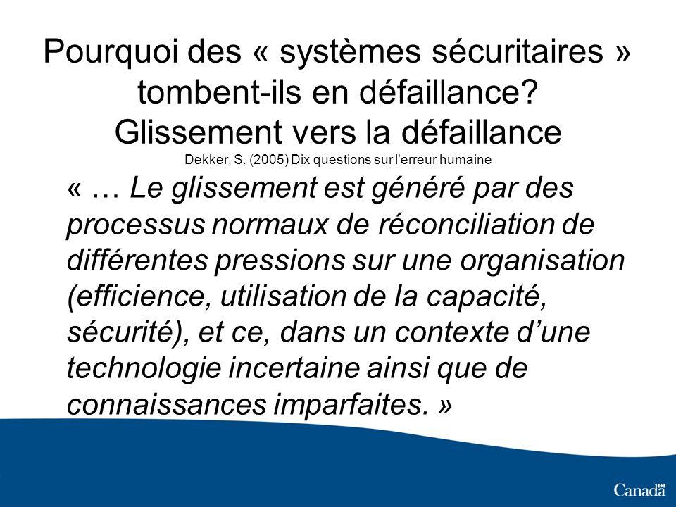 Pourquoi des « systèmes sécuritaires » tombent-ils en défaillance? Glissement vers la défaillance Dekker, S. (2005) Dix questions sur lerreur humaine