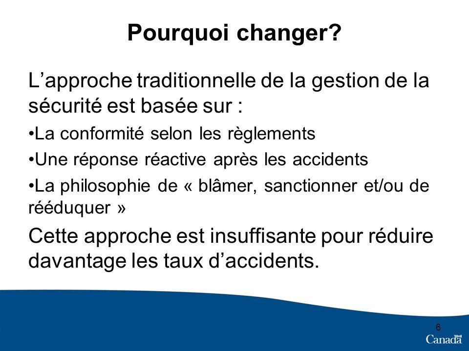 6 Pourquoi changer? Lapproche traditionnelle de la gestion de la sécurité est basée sur : La conformité selon les règlements Une réponse réactive aprè