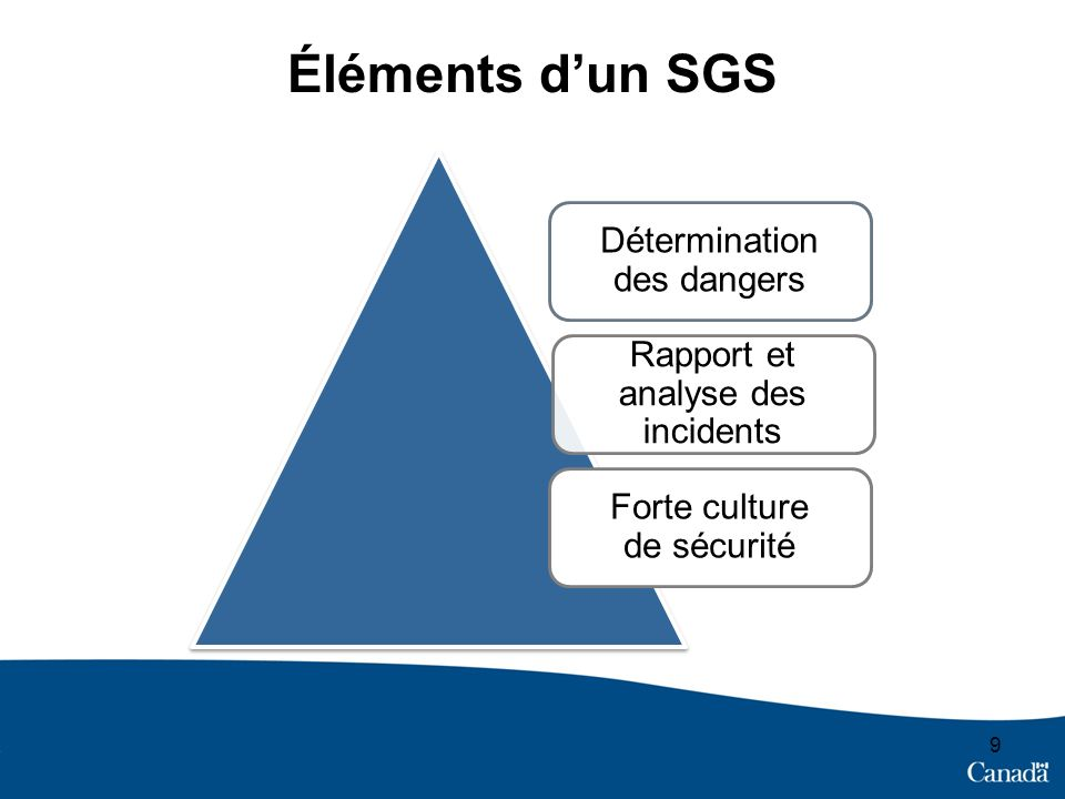 9 Détermination des dangers Rapport et analyse des incidents Forte culture de sécurité Éléments dun SGS